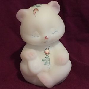 Fenton Burmese bear hand painted signed by artist